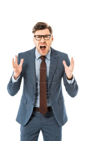 aggressive boss in glasses and suit screaming isolated on white