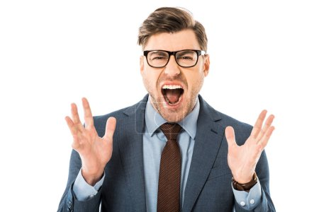 Photo for Close up of aggressive boss in glasses and suit screaming isolated on white - Royalty Free Image