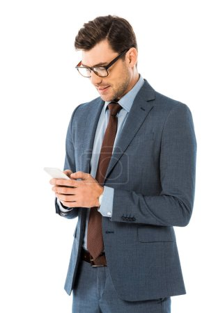 Photo for Handsome executive businessman using smartphone isolated on white - Royalty Free Image