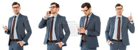 Photo pour Collage d'homme d'affaires beau en utilisant smartphone et geste isolé sur blanc - image libre de droit