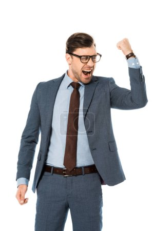 happy businessman in glasses rejoicing and gesturing isolated on white