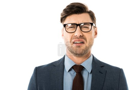 stressed businessman with sad face expression isolated on white
