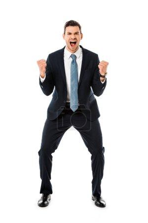 Photo pour Adulte homme d'affaires heureux gesticulant et réjouissance isolé sur blanc - image libre de droit