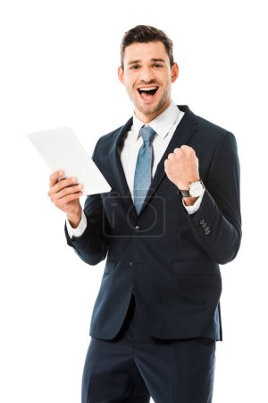 adult happy businessman holding digital tablet and rejoicing isolated on white
