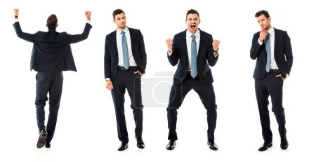 Photo for Collage of businessman showing different reactions isolated on white - Royalty Free Image