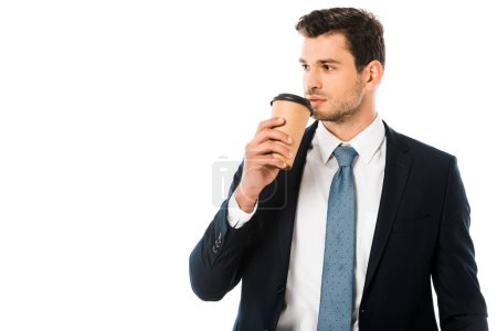Photo for Handsome businessman drinking coffee from paper cup isolated on white - Royalty Free Image