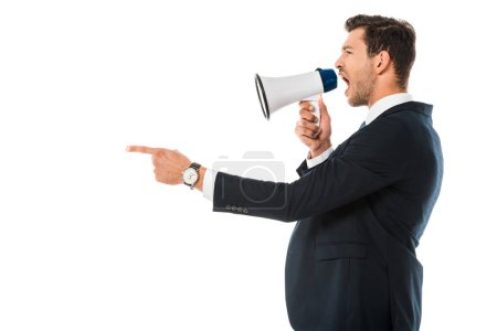 angry businessman shouting at megaphone isolated on white