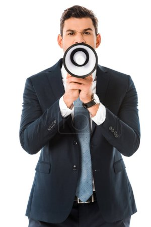 aggressive businessman shouting at megaphone isolated on white