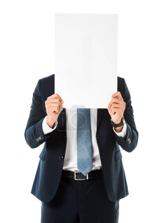 businessman with obscure face holding blank poster isolated on white