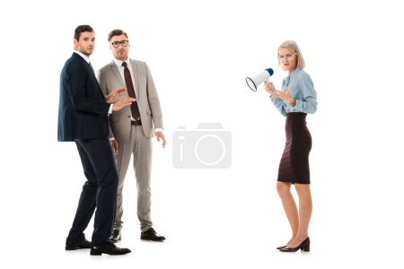 dissatisfied businesswoman speaking in megaphone to colleagues isolated on white