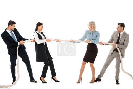 businesspeople pulling rope and competing in tug of war isolated on white
