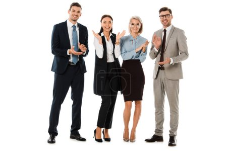 happy successful business team applauding isolated on white