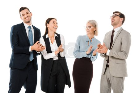 Photo pour Succès joyeux hommes d'affaires célébrant et applaudissant isolé sur blanc - image libre de droit