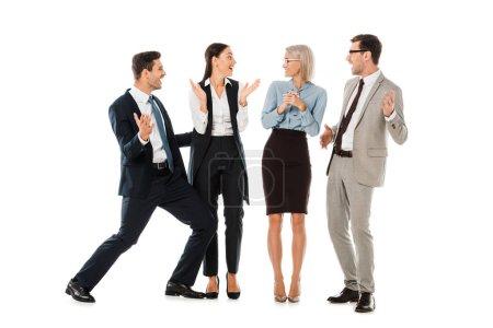 Photo pour Les gens d'affaires réussis célébrant et applaudissant isolés sur blanc - image libre de droit