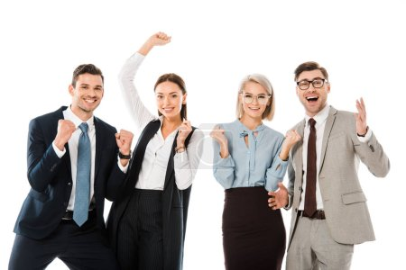 Photo for Excited professional businesspeople celebrating success isolated on white - Royalty Free Image