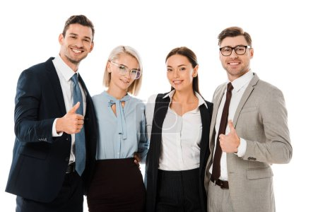 Photo for Successful businessmen showing thumbs up and standing with female coworkers isolated on white - Royalty Free Image