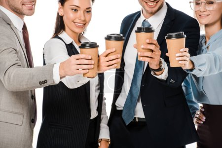 Photo for Business people having coffee break isolated on white - Royalty Free Image