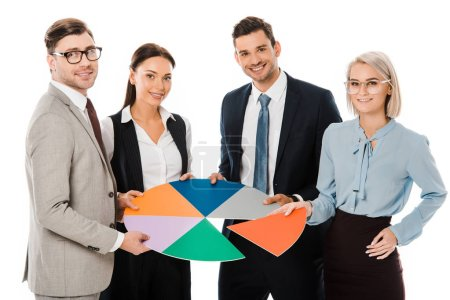 business team holding colorful chart isolated on white