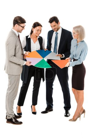 successful businesspeople holding colorful chart isolated on white