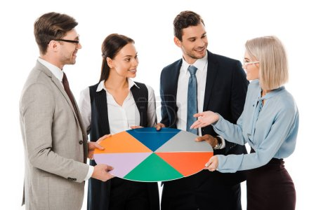 Photo for Executive business team holding colorful chart isolated on white - Royalty Free Image