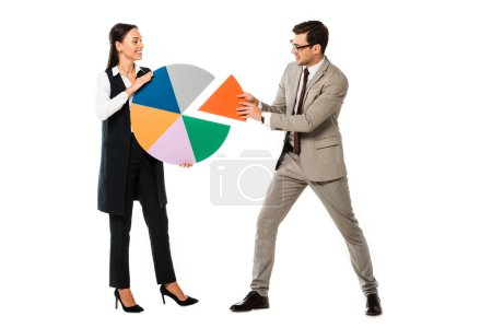 successful business couple holding colorful chart isolated on white