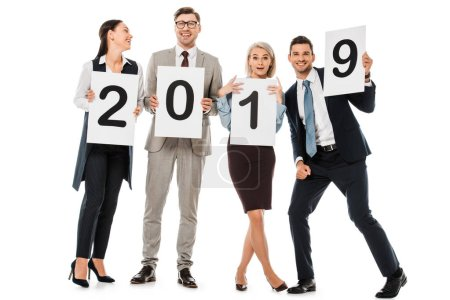 business team holding boards with 2019 new year sign isolated on white