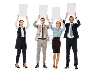 Photo pour Les gens d'affaires exécutifs tenant des pancartes vides isolés sur blanc - image libre de droit