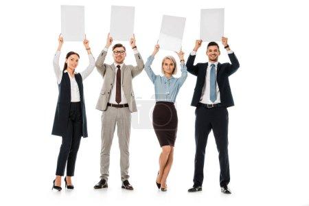 Photo pour Femmes et hommes d'affaires détenant des cartes vides isolés sur blanc - image libre de droit
