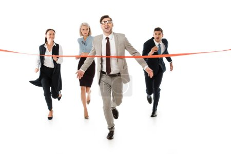 competitive business people running to red finishing line isolated on white