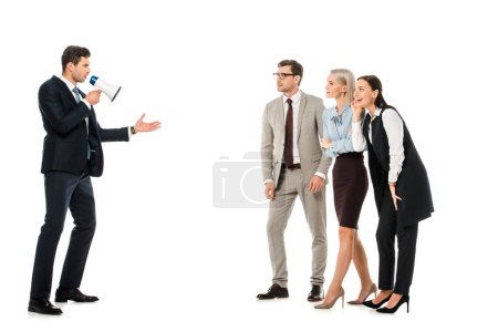Photo for Business managers listening leader with megaphone isolated on white - Royalty Free Image