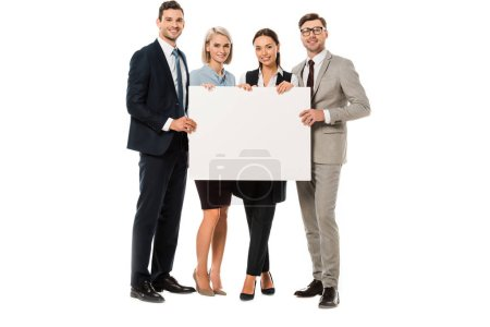 successful business team holding blank placard isolated on white