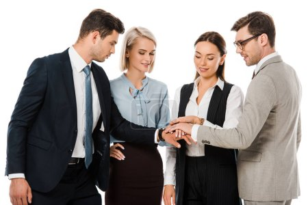 professional business team putting hands together isolated on white