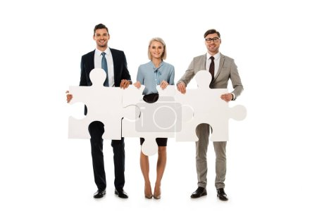 businesspeople holding puzzle elements isolated on white, teamwork concept
