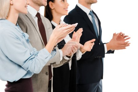 cropped view of successful applauding business team isolated on white
