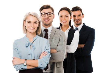 Photo pour Groupe d'affaires professionnel posant avec les bras croisés isolés sur blanc - image libre de droit