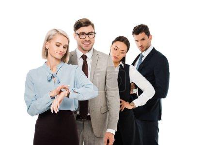 Photo pour Les gens d'affaires différentes en attente dans la file d'attente isolé sur blanc - image libre de droit