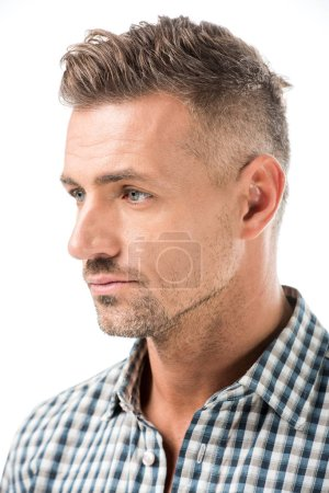 close up portrait of pensive adult man looking away isolated on white