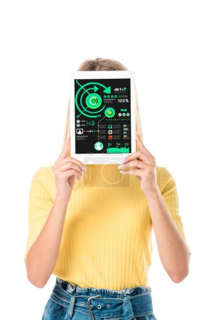 young woman holding digital tablet with charts on screen isolated on white