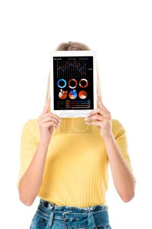 attractive young woman holding digital tablet with charts on screen isolated on white