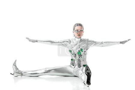 Photo for Silver robot sitting with open arms isolated on white, future technology concept - Royalty Free Image
