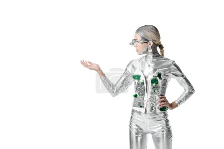 silver robot holding something isolated on white, future technology concept