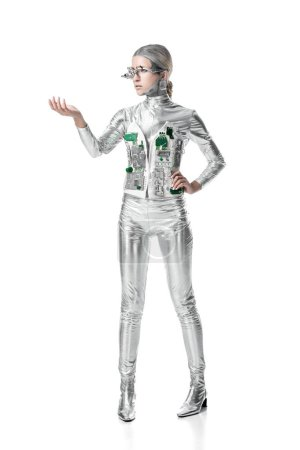 silver cyborg holding something isolated on white, future technology concept