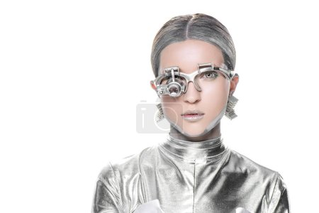 Photo for Portrait of silver robot with eye prosthesis looking at camera isolated on white, future technology concept - Royalty Free Image