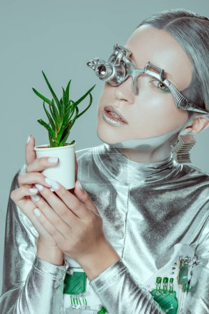 portrait of silver robot holding potted plant isolated on grey, future technology concept