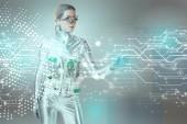 """Постер, картина, фотообои """"Серебряный роботизированной женщина, касаясь цифровых данных с рукой на концепции серый, будущие технологии"""""""