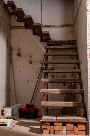 Photo for Staircase in grungy house during renovation - Royalty Free Image