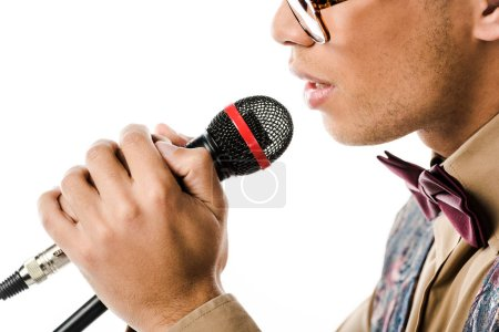partial view of male musician singing in microphone isolated on white