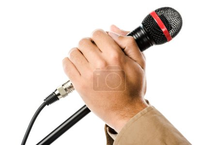 Photo for Cropped image of male musician holding hands on microphone isolated on white - Royalty Free Image