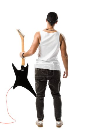 Photo for Back view of male rock musician posing with black electric guitar isolated on white - Royalty Free Image