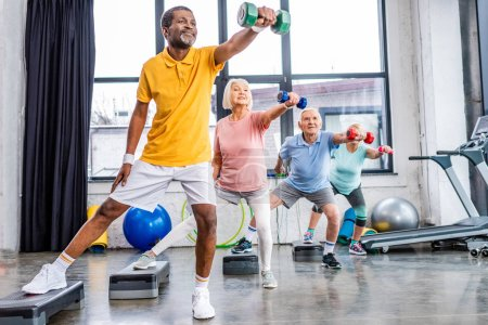 Photo for Senior sportspeople synchronous exercising with dumbbells on step platforms at gym - Royalty Free Image
